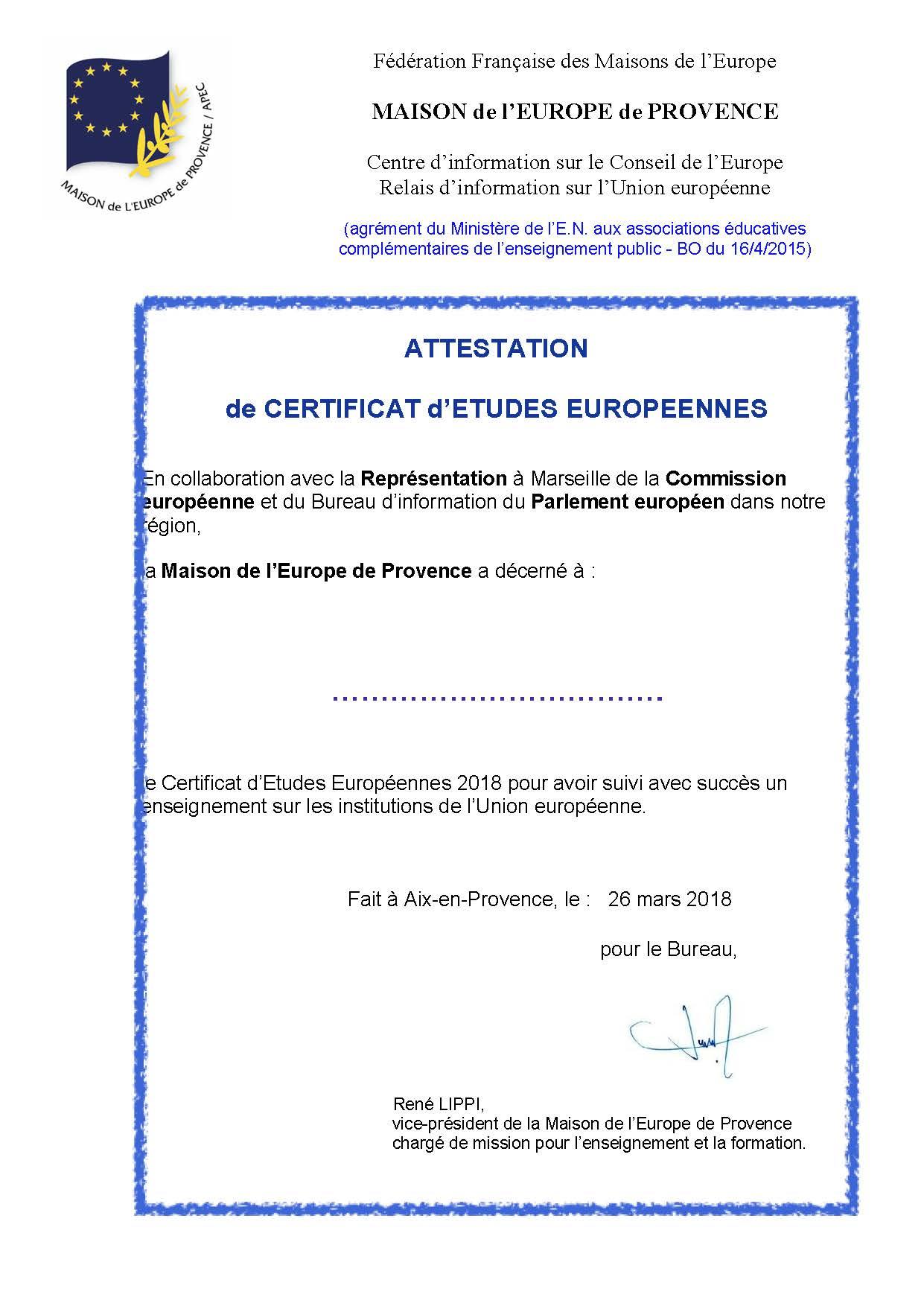 certification d u0026 39  u00e9tudes europ u00e9ennes