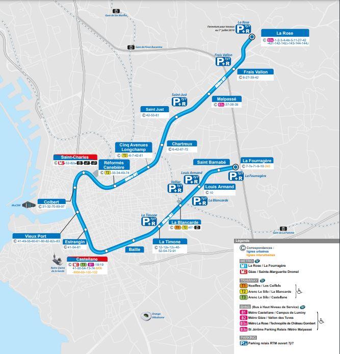 Itinéraire métro